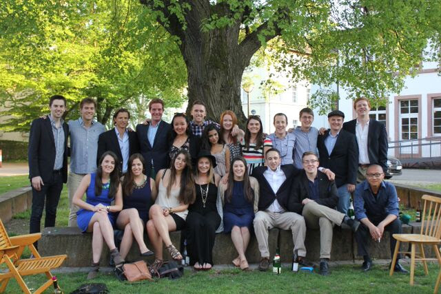 IES Abroad students dressed up for a formal in Europe