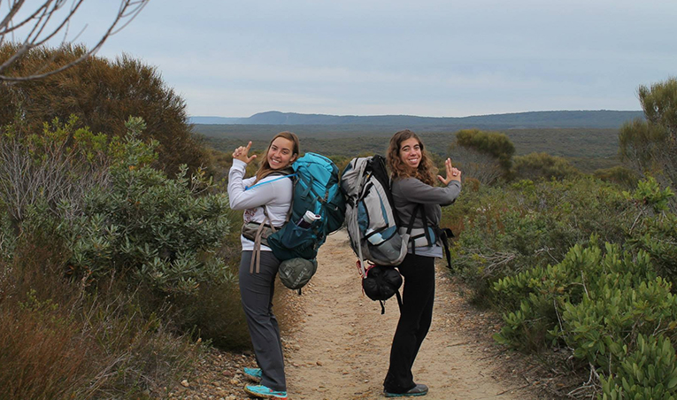 Backpackers in Royal National Park in New South Wales, Australia