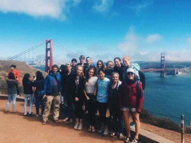Tourists at the Golden Gate Bridge in San Francisco, California