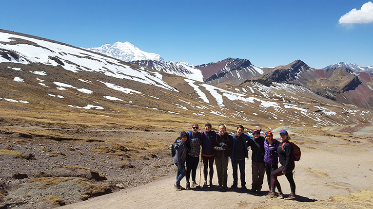 students hiking in the Andes, Peru