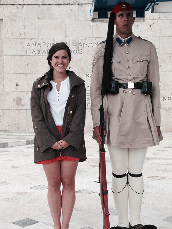 Posing with a guard