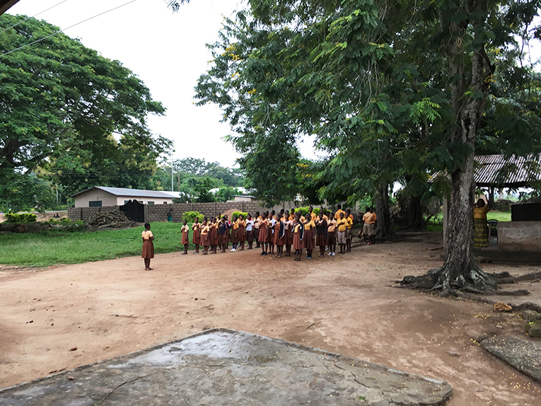 Morning assembly at a school in Ghana