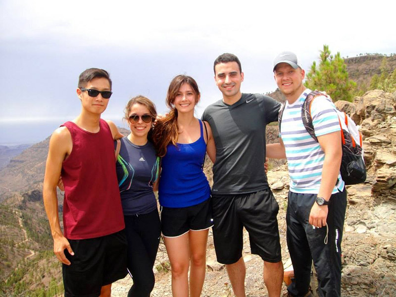 Students on a hike in the Canary Islands