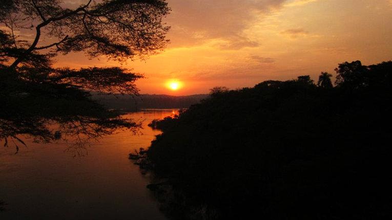 Sunset over the Nile River in Uganda