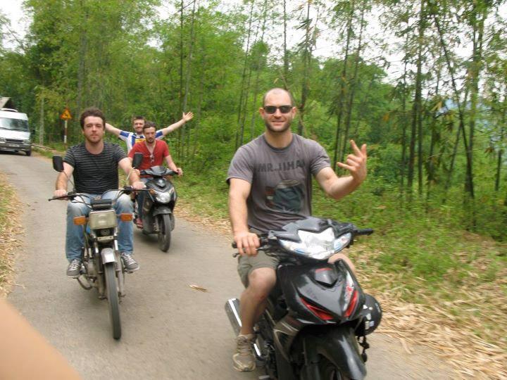 Foreign teachers riding motorbikes in Vietnam