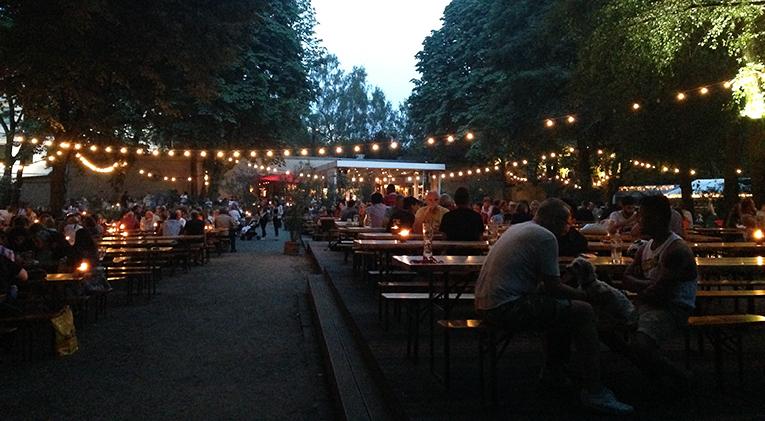 A beer garden in Berlin, Germany