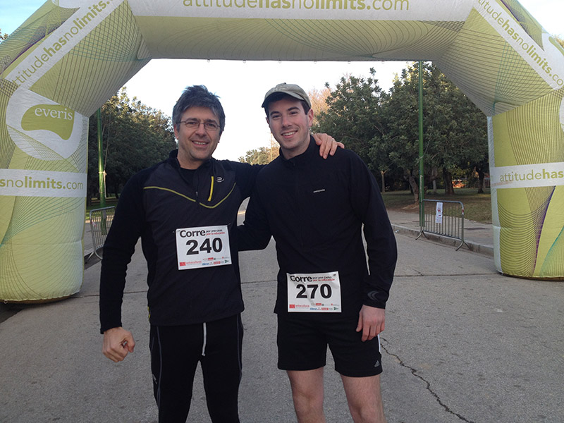 Academic Studies Abroad Staff Member and Study Abroad student after a 10k race in Spain