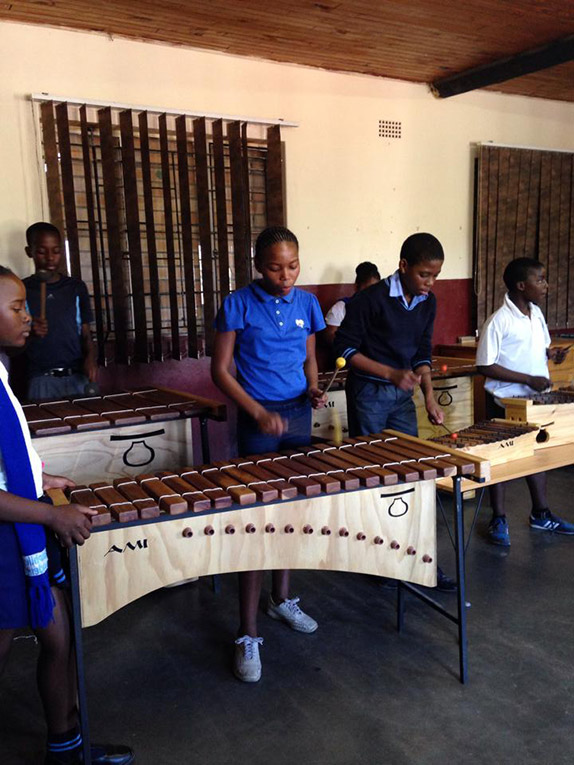 South African students playing marimbas