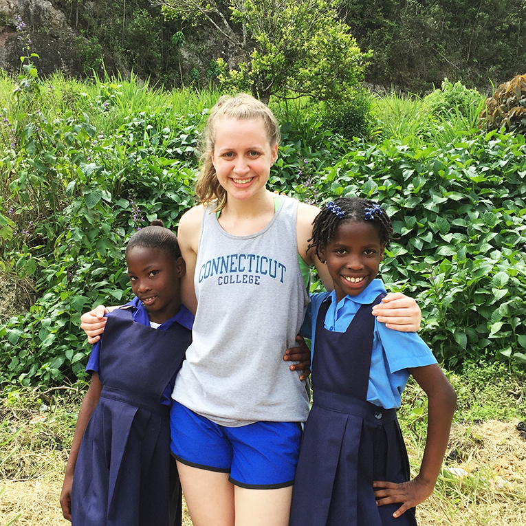 Jamaican students with their volunteer teacher