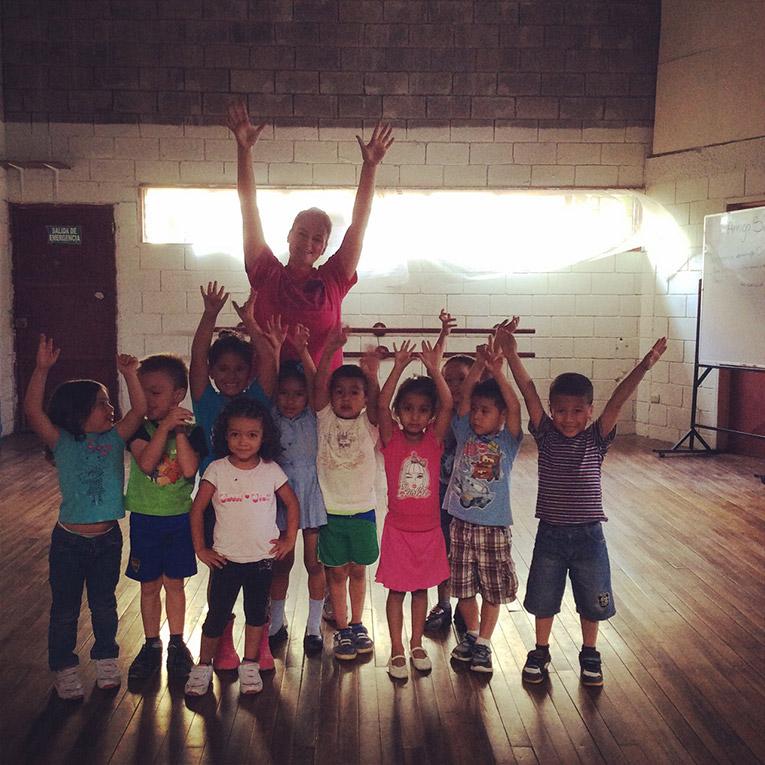 Costa Rican children at dance rehearsal