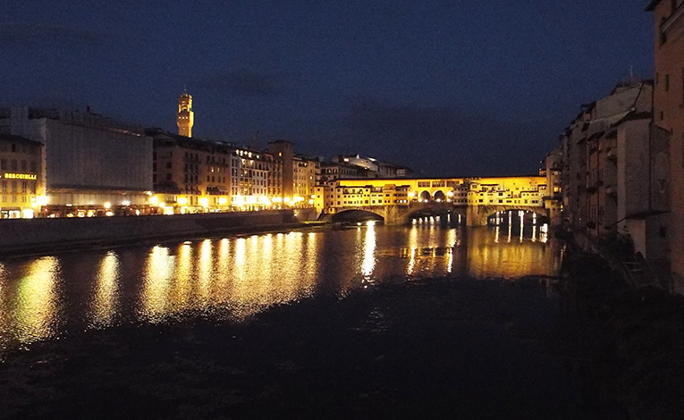 Arno River at night, Florence, Italy