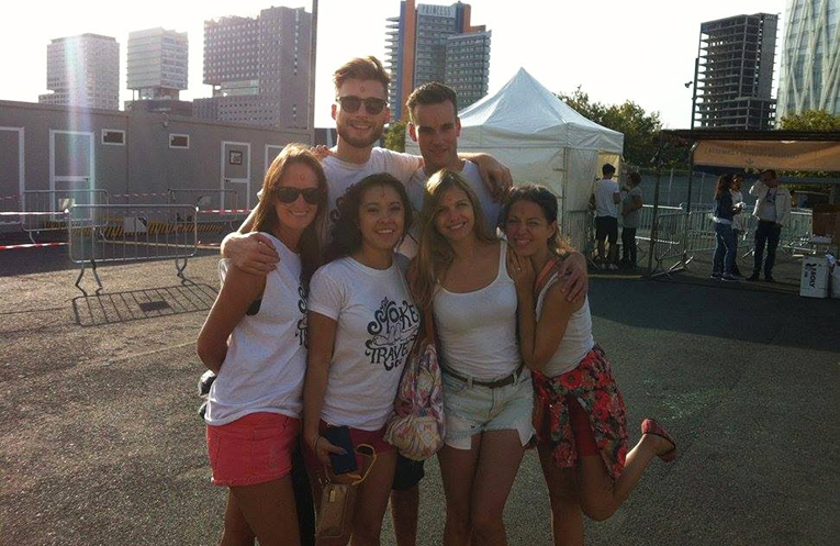 Study abroad students at Holi Festival in Barcelona, Spain