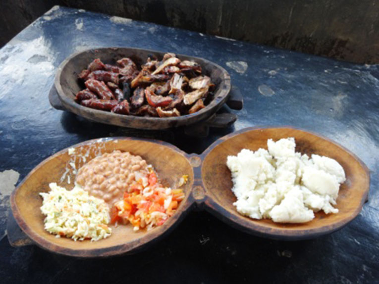 Plates of traditional food in Swaziland