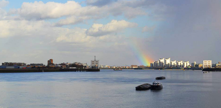 Rainbow over London, England