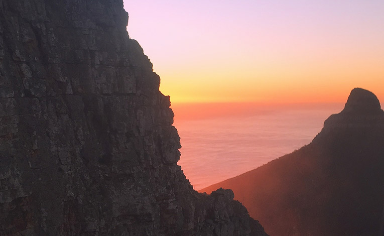 Sunset behind Lions Head in Cape Town, South Africa