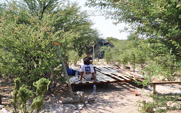 Construction volunteer taking a break in Botswana