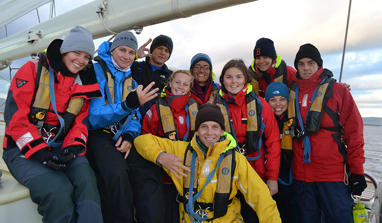 Students aboard a sailboat