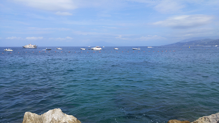The Gulf of Naples from the island of Capri in Italy