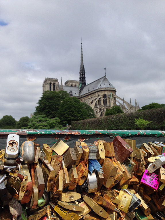 View of Notre Dame and the love locks in France