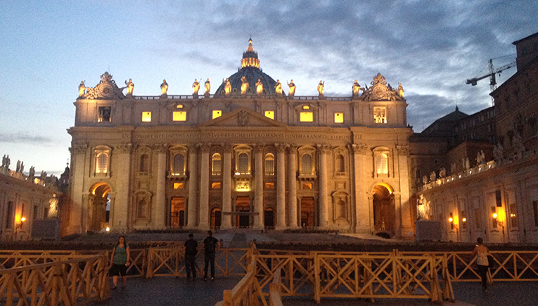 St. Peters Basilica at night, Rome, Italy