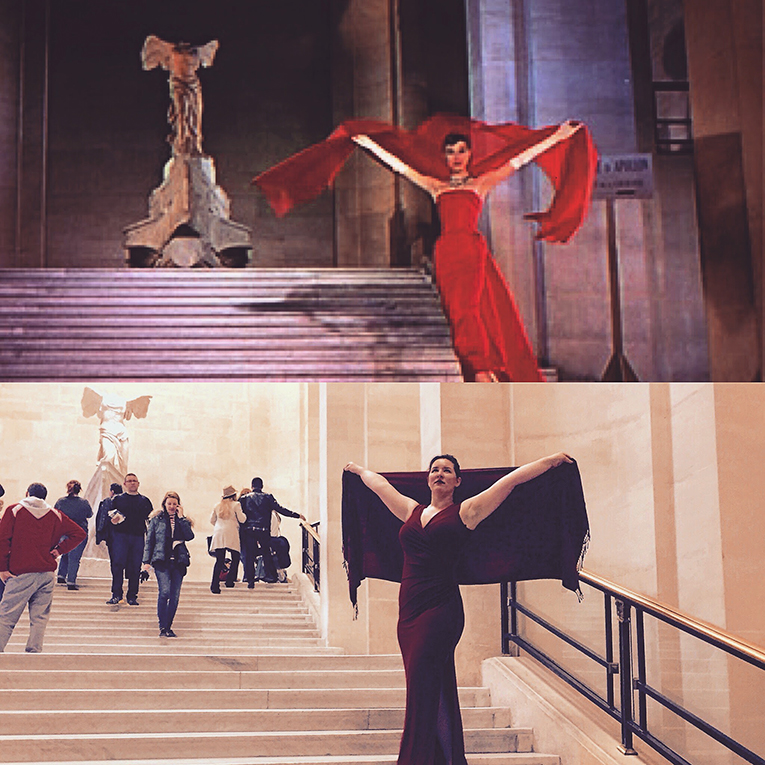 Student imitating Audrey Hepburn at the Louvre in Paris, France