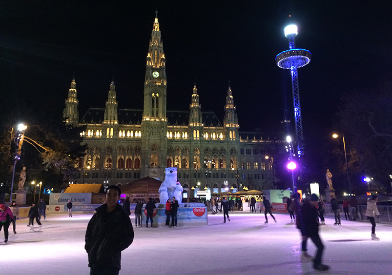 Ice skating rink in front of The Rathaus in Vienna, Austria