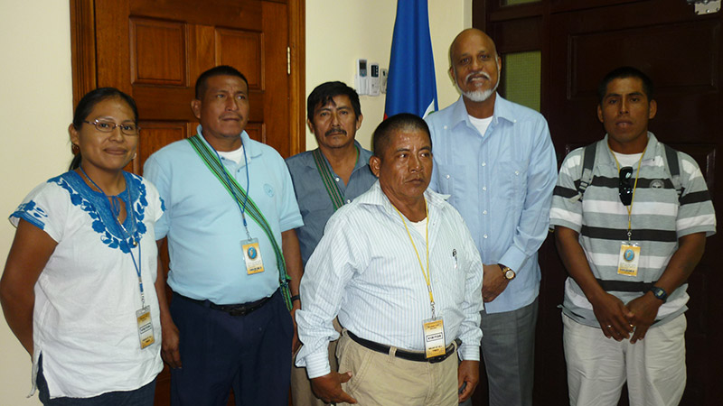 Maya leaders with the Prime Minister of Belize.