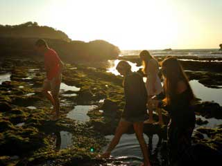 Walking through the tide pools in Biarritz, France