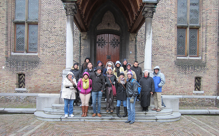 Study abroad students with their program leader in The Hague, Netherlands