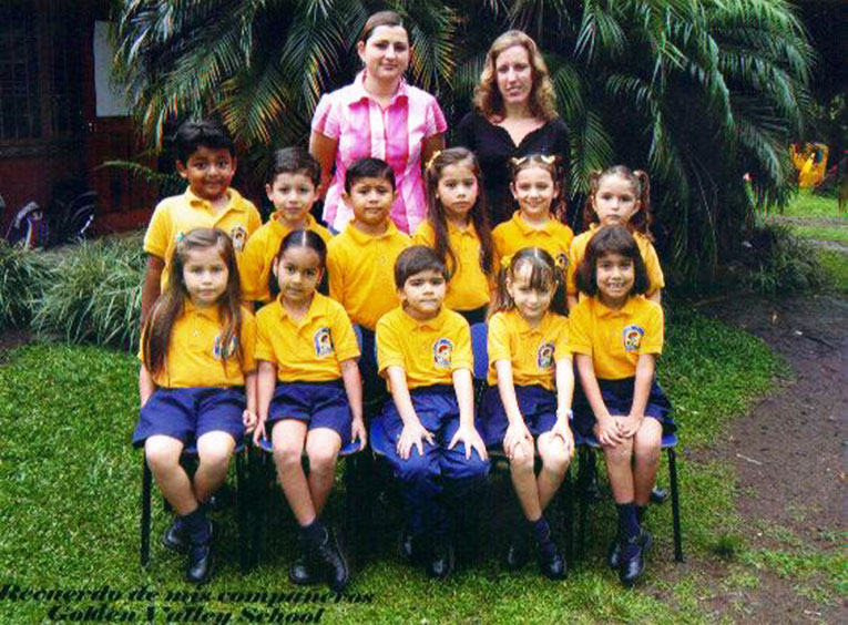 International teacher with students in Costa Rica