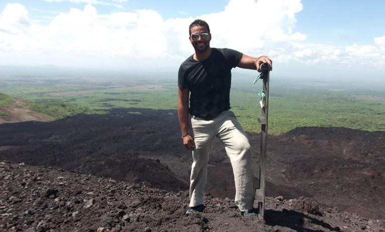 Man preparing to go volcano boarding at Volcan Cerro Negro in Nicaragua