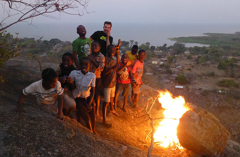 Bonfire on top of Nkope Hill in Malawi
