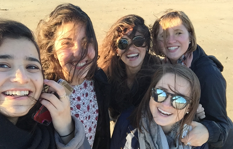 Group selfie in Normandy, France