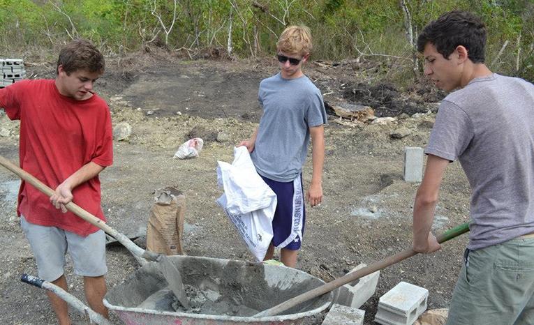 Construction volunteers in Fiji