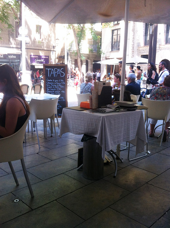 Outside a cafe in Spain