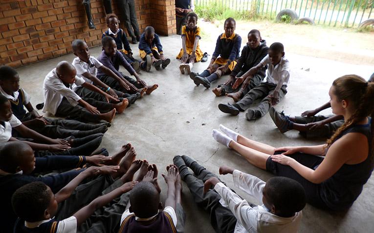 Teaching children in Zwelisha, South Africa