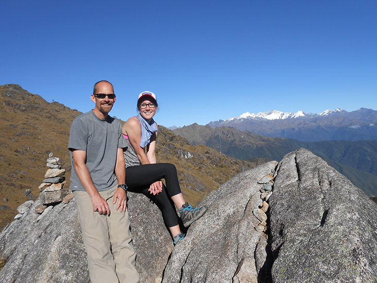 Father and daughter hiking the Inca Trail in Peru