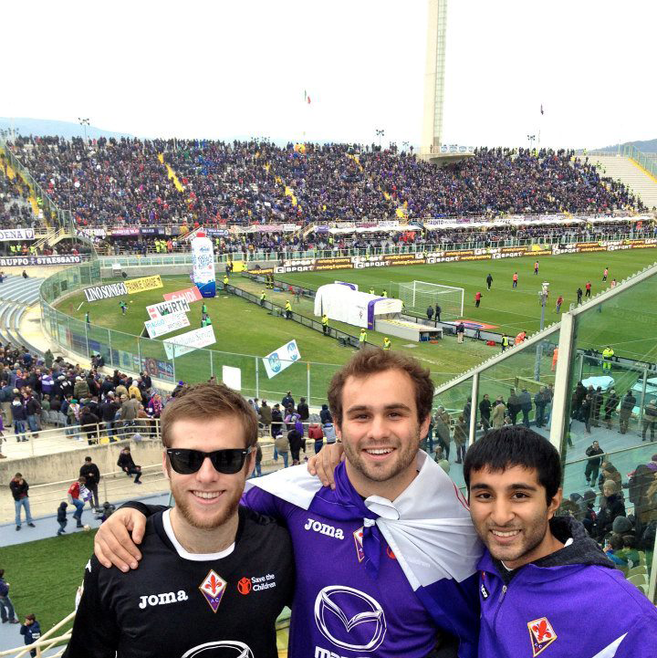 Fans at a futbol match in Italy