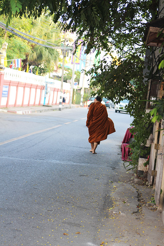Monk walking in Chiang mai