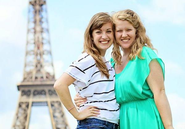 Study Abroad Girls at Eiffel Tower