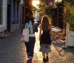 Students walking on a European street