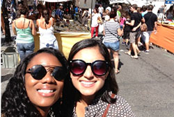 Students at a marketplace in Spain