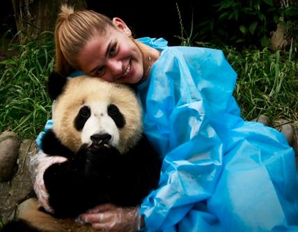 A volunteer hugging a panda