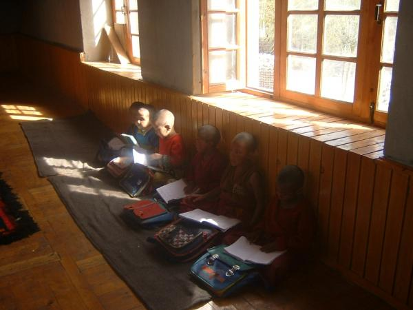Buddhist monks at school in Ladakh