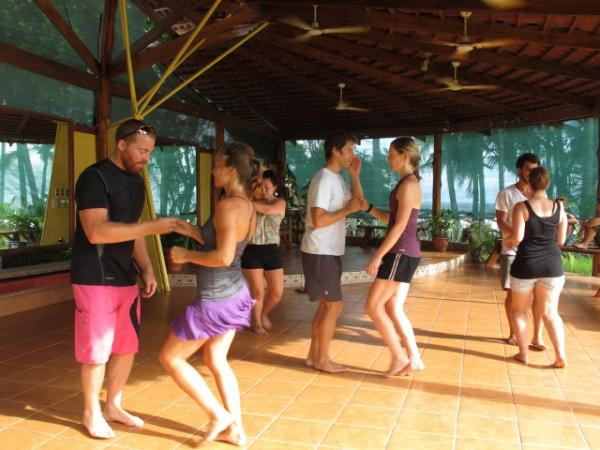 Latin dance class at Intercultura in Samara, Costa Rica