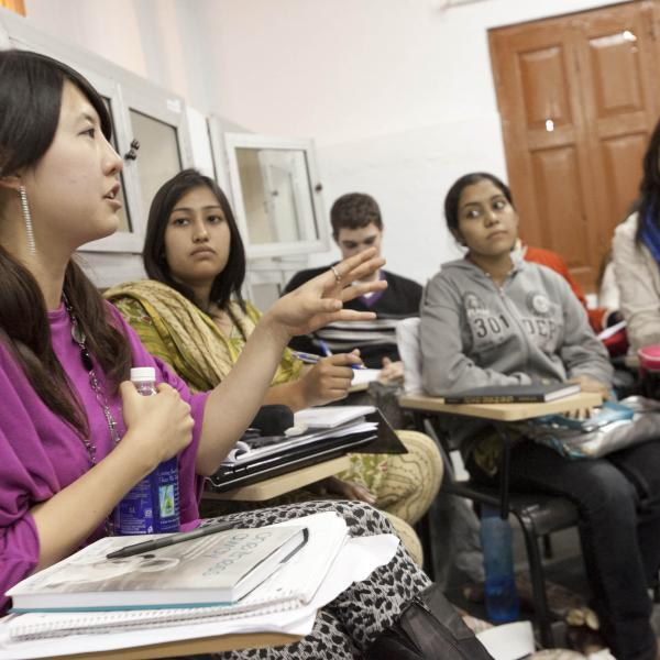 Duke Semester in India students having a classroom discussion