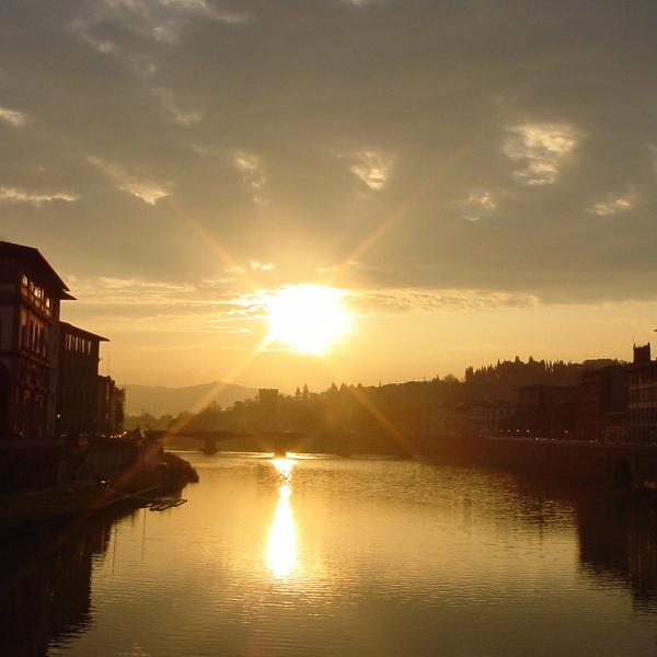 a beautiful sunset in Florence, Italy