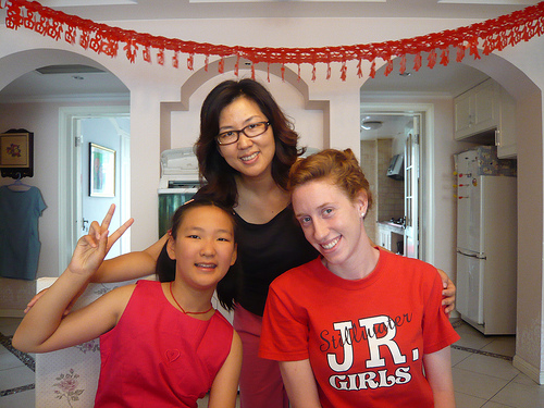 An intern with her host family