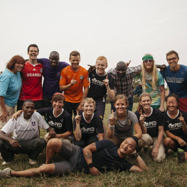 The team after a game of soccer in Uganda, Africa