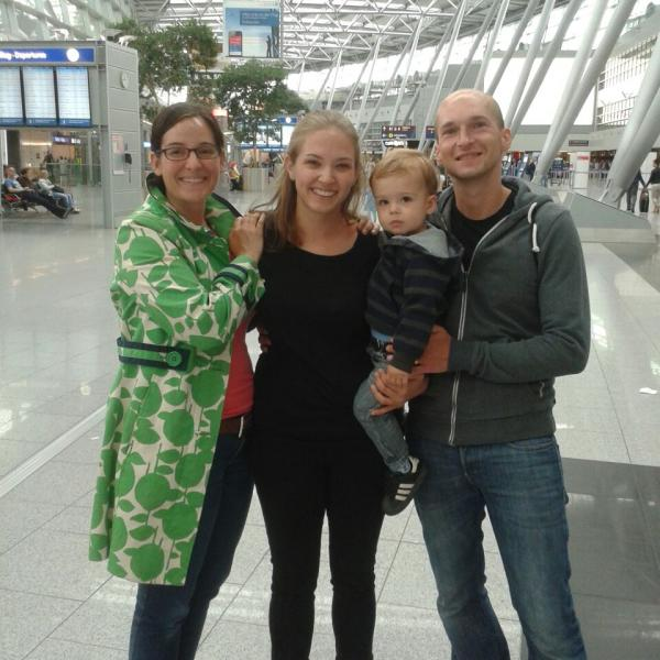Intern with her host family in Germany